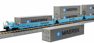Kato N Scale MAXI-I 5 Well Car Set w/10 Containers Maersk #100008 1066190