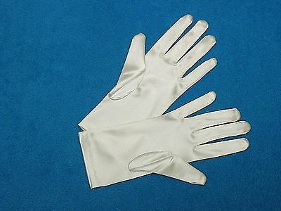 #G36 Ivory Shiny Satin Wrist-length Formal Bridal Wedding GLOVES  9 inches long