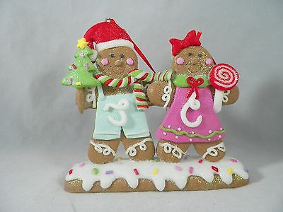 Gingerbread Couple with Tree and Lollipop Christmas Tree Ornament new holiday