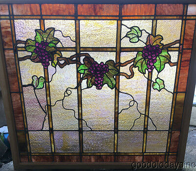 "Large Antique 1920's Stained Leaded Glass Grape Vine Window 43"" by 38"""