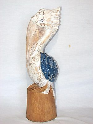 """20"""" Pelican On Piling Weathered Hand Carved Wood Tropical Sculpture Bird Decor"""
