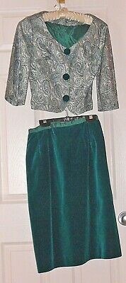 Green velvet skirt and brocade jacket two-piece vintage outfit. Custom made