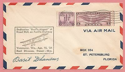 1934 Airport Dedication Hazel Dell Vancouver Washington Wa * Signed Owner Cover