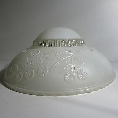 Vintage 1930's CEILING 3 Chain Light Fixture Glass SHADE White ART DECO