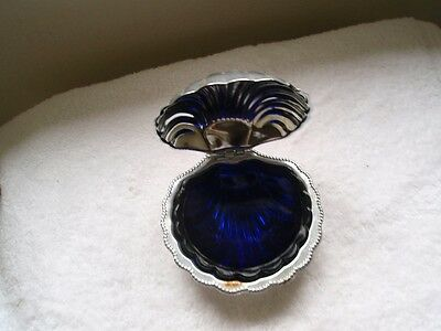 Vintage Stainless With Cobalt Blue Glass Liner Shell Shaped Butter Dish