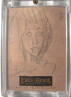 Arwen hand drawn artist sketch card. Lord of the Rings.