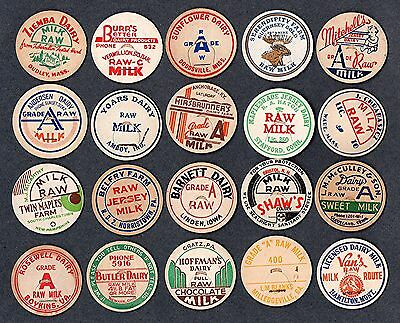 20 Vintage RAW Milk Bottle Caps all Different from 15 Different States