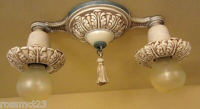 Vintage Lighting 1920s matched set. One ceiling fixture. Two sconces