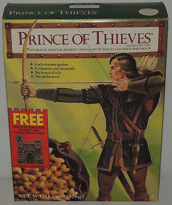 Vintage Robin Hood PRINCE OF THIEVES Cereal Box UNOPENED 91 Castle Action Scene