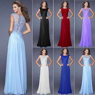 2016 Women Long Wedding Bridesmaid Lace Prom Ball Cocktail Party Evening Dress