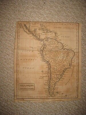 Antique 1812 South America West Indies Cuba Copperplate Map Brazil Argentina Nr
