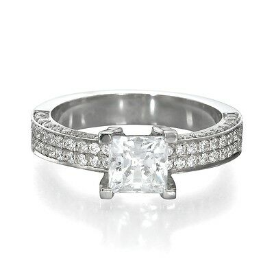1.50 CT Solitaire Princess Enhanced Diamond Engagement Ring 14k White Gold D/VS1