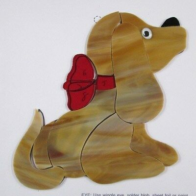 Pre - Cut Stained Glass Puppy Dog Kit, Mosaics, Stepping , Suncatcher