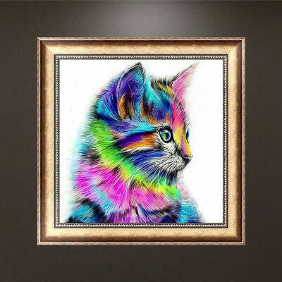 DIY 5D Diamond Embroidery Mosaic Colorful Cat Painting Cross Stitch Home Decor