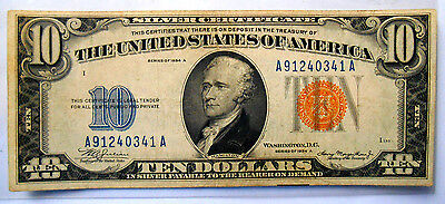 """1934 A $10 Silver Certificate """"""""WWII Emergency Issue"""""""" North Africa Yellow Seal"""