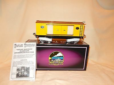 Mth Tinplate Traditions 214 Yellow & Brown Boxcar With Nickel Trim-New! Std Gage