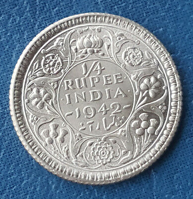 1942 India British 1/4 Rupee KM# 546 Silver George VI Coin Lustrous MS UNC