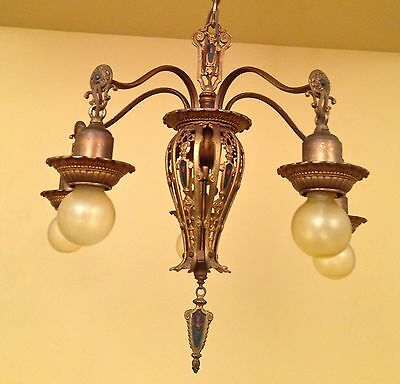 Vintage Lighting matched pair 1920s Spanish Revival chandeliers