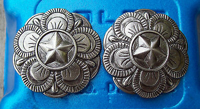"""Bridle Rosettes Floral Star Concho 1 3/4"""" with 1"""" loop"""