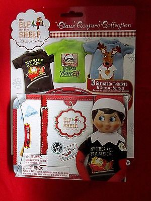 The Elf On The Shelf 3 Elf Sized T-Shirts & Keepsake Suitcase Claus Couture
