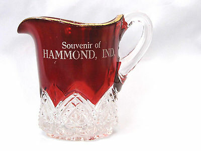 HAMMOND Indiana EAPG Ruby Flashed Vintage Souvenir CREAMER or Small Pitcher