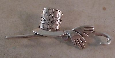 Old Vintage JEZLAINE Sterling Silver BROOCH Top HAT hands Walking Cane STICK