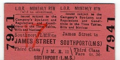 RAILWAY TICKET.  LOR 4/3d MONTHLY RETURN. JAMES STREET - SOUTHPORT (LMS)