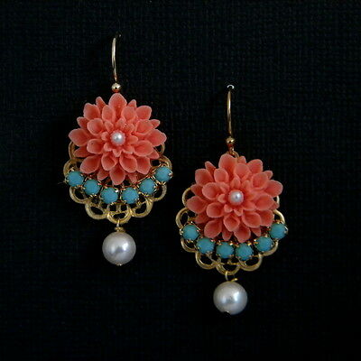 Coral Flower Turquoise Freshwater Pearl Drop Earrings