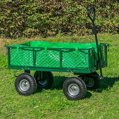 Garden Trailer Trolley Cart With Lining Heavy Duty Outdoor Tool Plant Transport