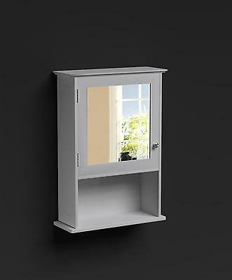 Mirrored Wall Unit Cabinet Cupboard With 1 Door White Bathroom Richmond