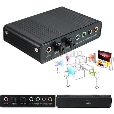 USB 2.0 External 4 Channel 5.1 S/PDIF Optical Sound Card Audio MIC For PC Laptop