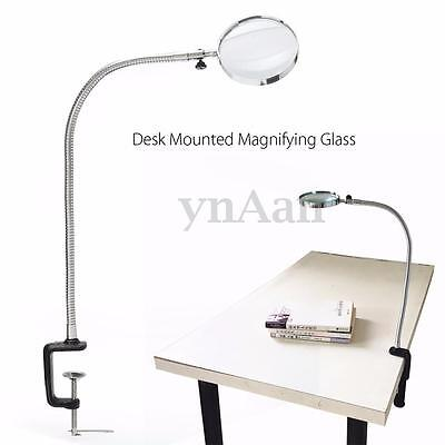 5X Glass Magnifier Desk Table Mounted Flexible Neck Lens Magnifying Metal Clamp