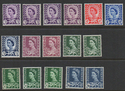 Wales 16 pre-decimal definitives unmounted & mounted mint.