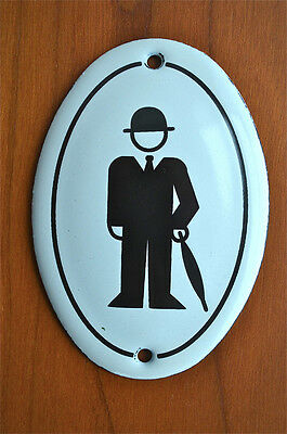 Small vintage style man with hat and umbrella toilet door sign mens plaque