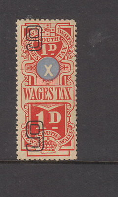 NSW 1938-9 1d Red WAGES TAX -Revenue-joined pair complete- Elsmore Cat $20 LHM