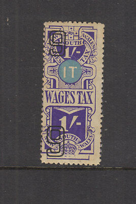 NSW 1938-9 1/- Violet WAGES TAX -Revenue-joined pr complete- Elsmore Cat $20 LHM