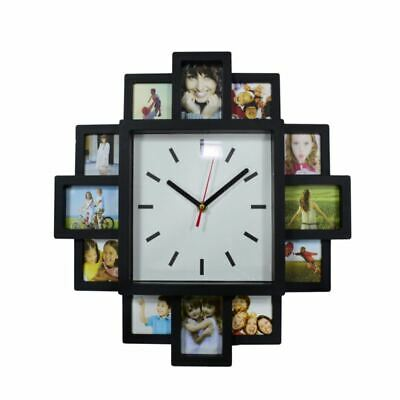 Home Indoor 12 Photo Frame Wall Mounted Clock Black Modern Collage Multi Picture