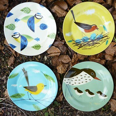Magpie Birdy Plates Set Of 4 New In Gift Box