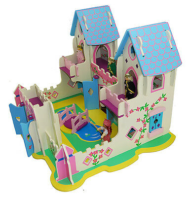 Wooden Princess Palace Castle With Dolls Children's Role Play Toy Girls Kids 001