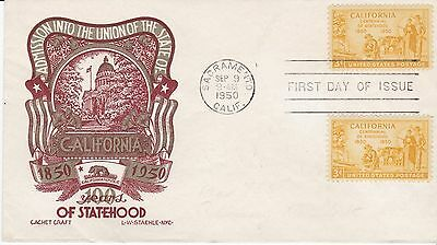 First day cover, Sc #997, California, Planty 997-6, Cachetcraft/Staehle, 1950