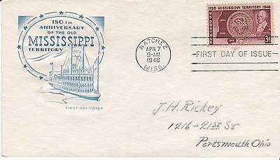 First day cover, Scott #955, Mississippi Territory, Planty 955-18, Farnam, 1948