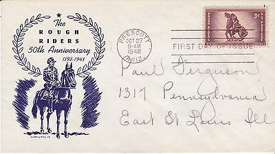 First day cover, Scott #937, Rough Riders, Planty 937-35, Hamilton cachet, 1948