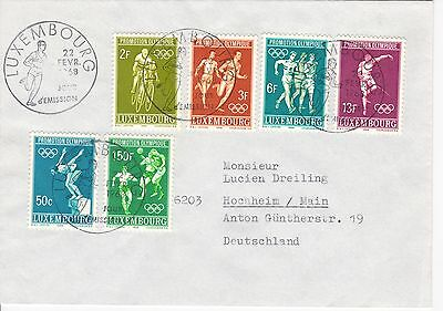 First day cover, Luxembourg, Scott #460-465, Olympics, 1968
