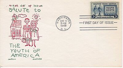 First day cover, Scott #963, Youth, Planty 963-3, Jackson cachet, 1948