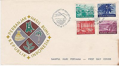 First day cover, Indonesia, Scott #498-501, agricultural products, 1960