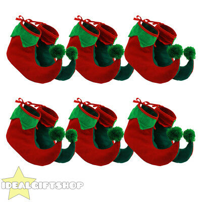 6X Childs Elf Boots Shoe Covers Xmas Pixie Jester Slippers Christmas Fancy Dress