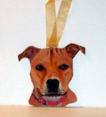 Staffordshire Terrier Dog Original Hand Painted Wood Ornament Gift USA
