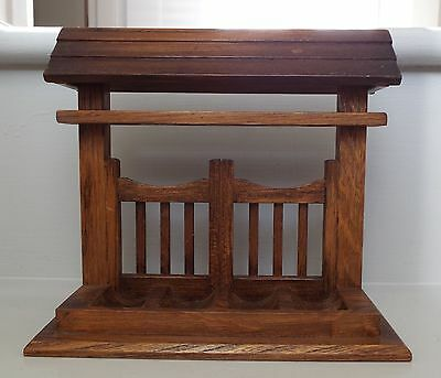Vintage Hand Made Wooden Smoking Pipe Rack Display Stand Tallent New Bond St.