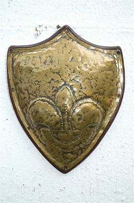 Antique brass and wood Be Prepared wall plaque boy scout scouts shield sign