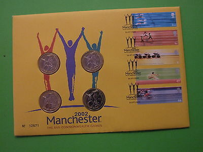 2002 ROYAL MINT MANCHESTER COMMONWEALTH GAMES 4x £2 TWO POUND BU COIN COVER